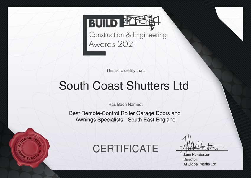 South coast shutters - Construction & Engineering Awards Certificate 2021